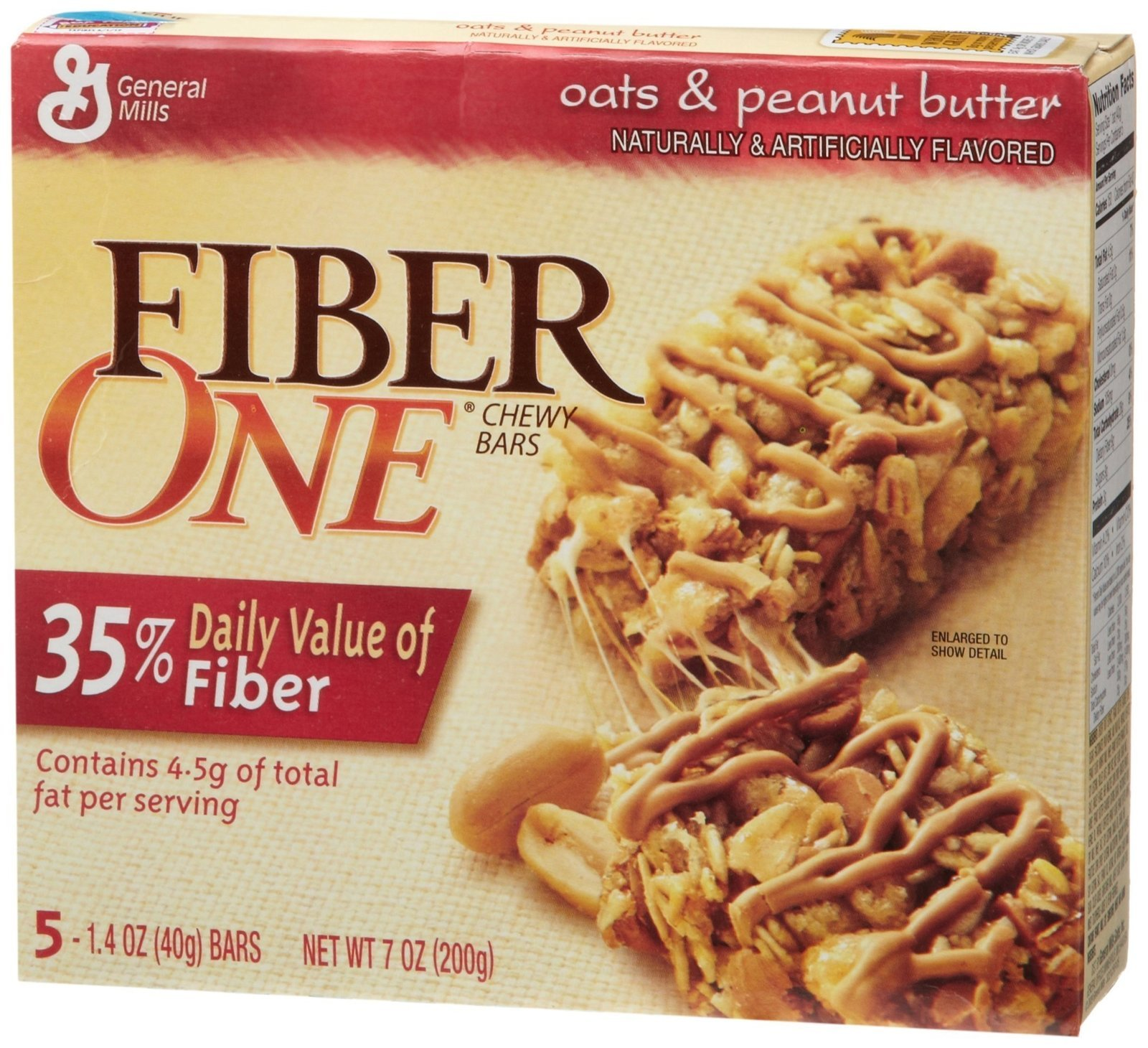 General Mills Fiber 1 Peanut Butter Bars 7 oz. | Starfish ...